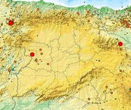 Puntos de mayor actividad sísmica en Castilla y León